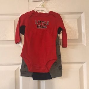 3 piece Carters fiertruck outfit